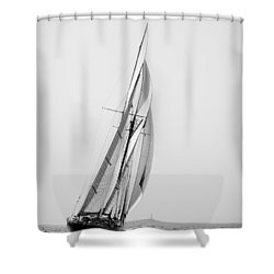 A Tall Ship In Mediterranean Water Approaching To Lighthouse Of Isla Del Aire - Menorca Shower Curtain