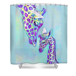 Aqua And Purple Loving Giraffes Shower Curtain by Jane Schnetlage