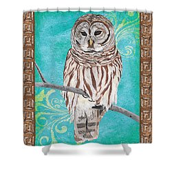 Aqua Barred Owl Shower Curtain by Debbie DeWitt