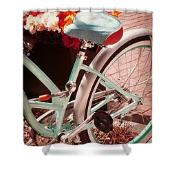 Aqua Bicycle Shower Curtain by Valerie Reeves