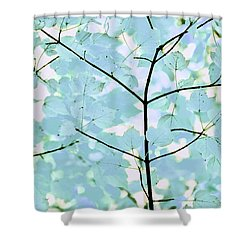 Aqua Blues Greens Leaves Melody Shower Curtain by Jennie Marie Schell