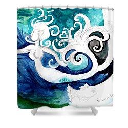 Aqua Mermaid Shower Curtain by Genevieve Esson