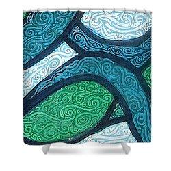 Aqua Motion Shower Curtain by Genevieve Esson