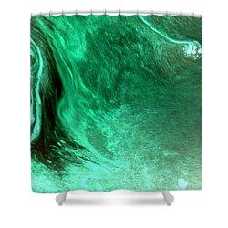 Shower Curtain featuring the mixed media Aqua Tree by Salman Ravish