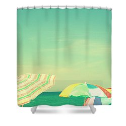 Aqua Sky With Umbrellas Shower Curtain by Valerie Reeves