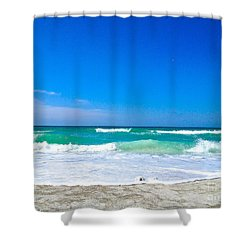 Aqua Surf Shower Curtain by Margie Amberge