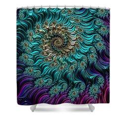 Aqua Swirl Shower Curtain by Steve Purnell