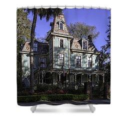 Aqua Victorian Painted Lady Shower Curtain by Lynn Palmer
