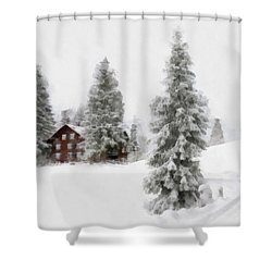 Aquarell - Beautiful Winter Landscape With Trees And House Shower Curtain by Matthias Hauser