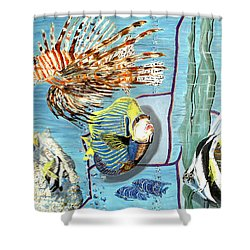 Shower Curtain featuring the painting Aquarium by Daniel Janda