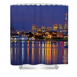 Shower Curtain featuring the photograph Aquatic Park Blue Hour by Kate Brown