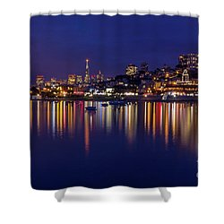 Shower Curtain featuring the photograph Aquatic Park Blue Hour Wide View by Kate Brown