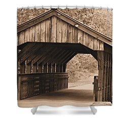 Arabia Mountain Covered Bridge Shower Curtain by Tara Potts