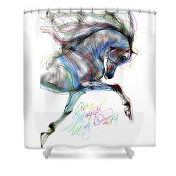Arabian Horse Trotting In Air Shower Curtain