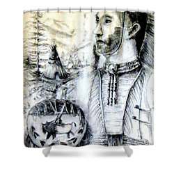 Shower Curtain featuring the painting Arapaho Cheyenne by Bernadette Krupa