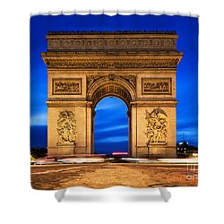 Arc De Triomphe At Night Paris France  Shower Curtain