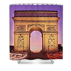 Shower Curtain featuring the photograph Arc De Triomphe Facade / Paris by Barry O Carroll