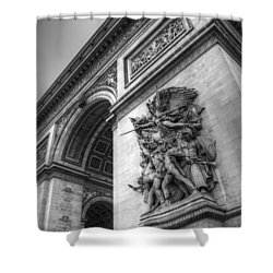 Shower Curtain featuring the photograph Arc De Triomphe In Black And White by Jennifer Ancker