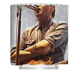 Shower Curtain featuring the painting Arcade Fire Win Butler Artwork by Sheraz A