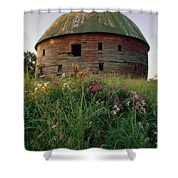 Arcadia Round Barn And Wildflowers Shower Curtain