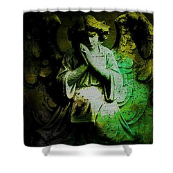 Shower Curtain featuring the digital art Archangel Uriel by Absinthe Art By Michelle LeAnn Scott