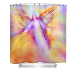 Archangel Uriel In Flight Shower Curtain