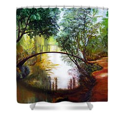 Arched Bridge Over Brilliant Waters Shower Curtain