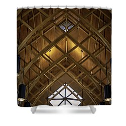 Arched Trusses - University Of Florida Chapel On Lake Alice Shower Curtain by Lynn Palmer