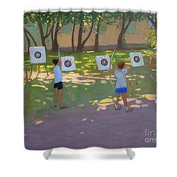 Archery Practice  France Shower Curtain by Andrew Macara
