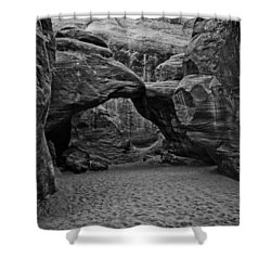 Arches National Park Black And White Shower Curtain by Bob and Nadine Johnston