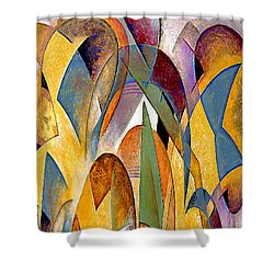Shower Curtain featuring the mixed media Arches by Rafael Salazar
