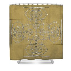 Sepia Maltese Cross Blueprint Shower Curtain