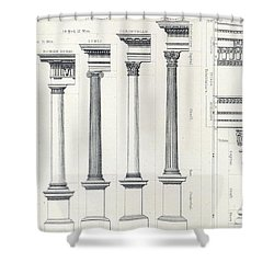 Architecture I Orders Of Architecture Engraved By Charles Lawrie Shower Curtain by  John Burley Waring