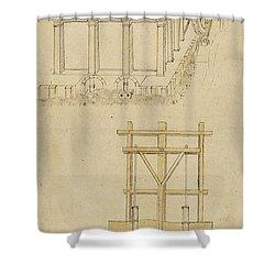 Architecture With Indoor Fountain From Atlantic Codex  Shower Curtain by Leonardo Da Vinci