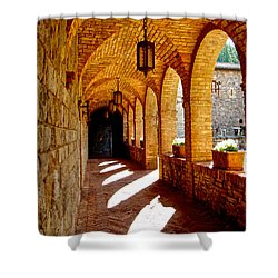 Archway By Courtyard In Castello Di Amorosa In Napa Valley-ca Shower Curtain