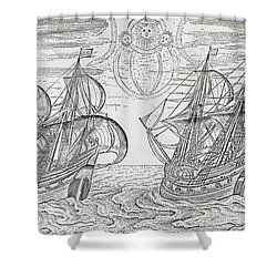 Arctic Phenomena From Gerrit De Veer S Description Of His Voyages Amsterdam 1600 Shower Curtain by Netherlandish School