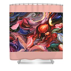 Shower Curtain featuring the painting Aria - Acrylic On Canvas by Brooks Garten Hauschild