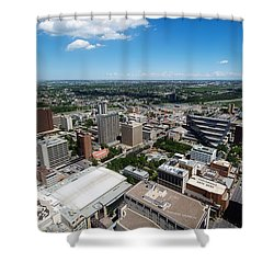 Arial View Of Calgary Facing North East Shower Curtain by Lisa Knechtel