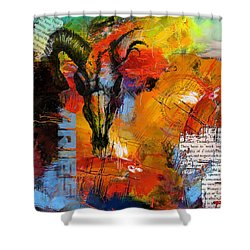 Aries Horoscope Shower Curtain by Corporate Art Task Force