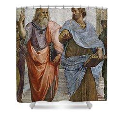Aristotle And Plato Detail Of School Of Athens Shower Curtain by Raffaello Sanzio of Urbino