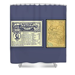 Arizona 1891 Map And Handbook Entry Shower Curtain