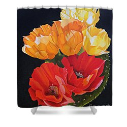 Shower Curtain featuring the painting Arizona Blossoms - Prickly Pear by Debbie Hart