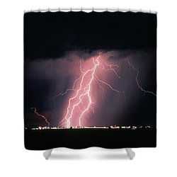 Arizona  Lightning Over City Lights Shower Curtain by Anonymous