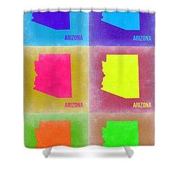 Arizona Pop Art Map 4 Shower Curtain by Naxart Studio