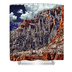 Arizona Secret Mountain Wilderness In Winter Shower Curtain by Bob and Nadine Johnston