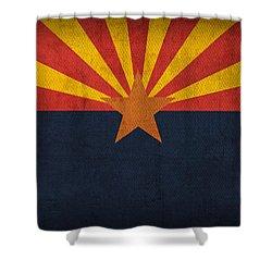 Arizona State Flag Art On Worn Canvas Shower Curtain by Design Turnpike