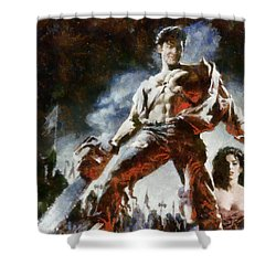 Shower Curtain featuring the painting Army Of Darkness by Joe Misrasi