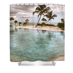 Around The Pool-waiting For The Storm Shower Curtain by Eti Reid