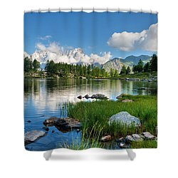 Arpy Lake - Aosta Valley Shower Curtain by Antonio Scarpi