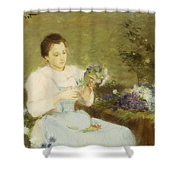 Arranging Flowers For A Spring Bouquet Shower Curtain by Victor Gabriel Gilbert